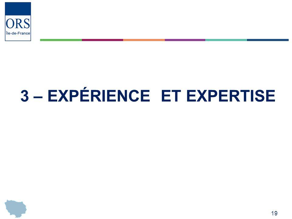 19 3 – EXPÉRIENCE ET EXPERTISE