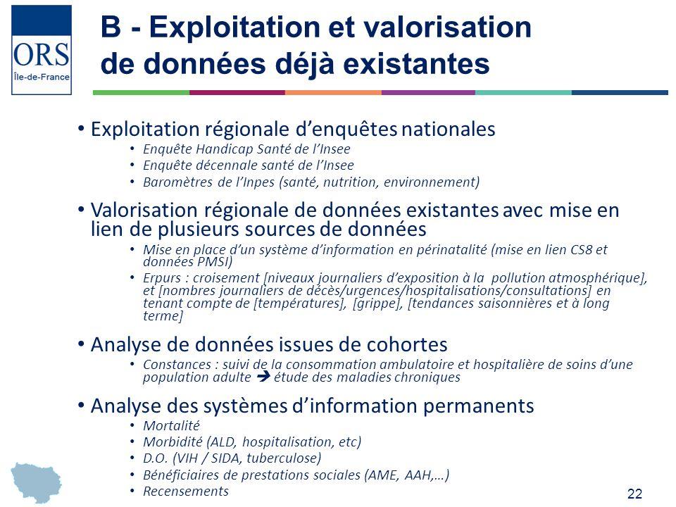 22 B - Exploitation et valorisation de données déjà existantes Exploitation régionale denquêtes nationales Enquête Handicap Santé de lInsee Enquête décennale santé de lInsee Baromètres de lInpes (santé, nutrition, environnement) Valorisation régionale de données existantes avec mise en lien de plusieurs sources de données Mise en place dun système dinformation en périnatalité (mise en lien CS8 et données PMSI) Erpurs : croisement [niveaux journaliers dexposition à la pollution atmosphérique], et [nombres journaliers de décès/urgences/hospitalisations/consultations] en tenant compte de [températures], [grippe], [tendances saisonnières et à long terme] Analyse de données issues de cohortes Constances : suivi de la consommation ambulatoire et hospitalière de soins dune population adulte étude des maladies chroniques Analyse des systèmes dinformation permanents Mortalité Morbidité (ALD, hospitalisation, etc) D.O.