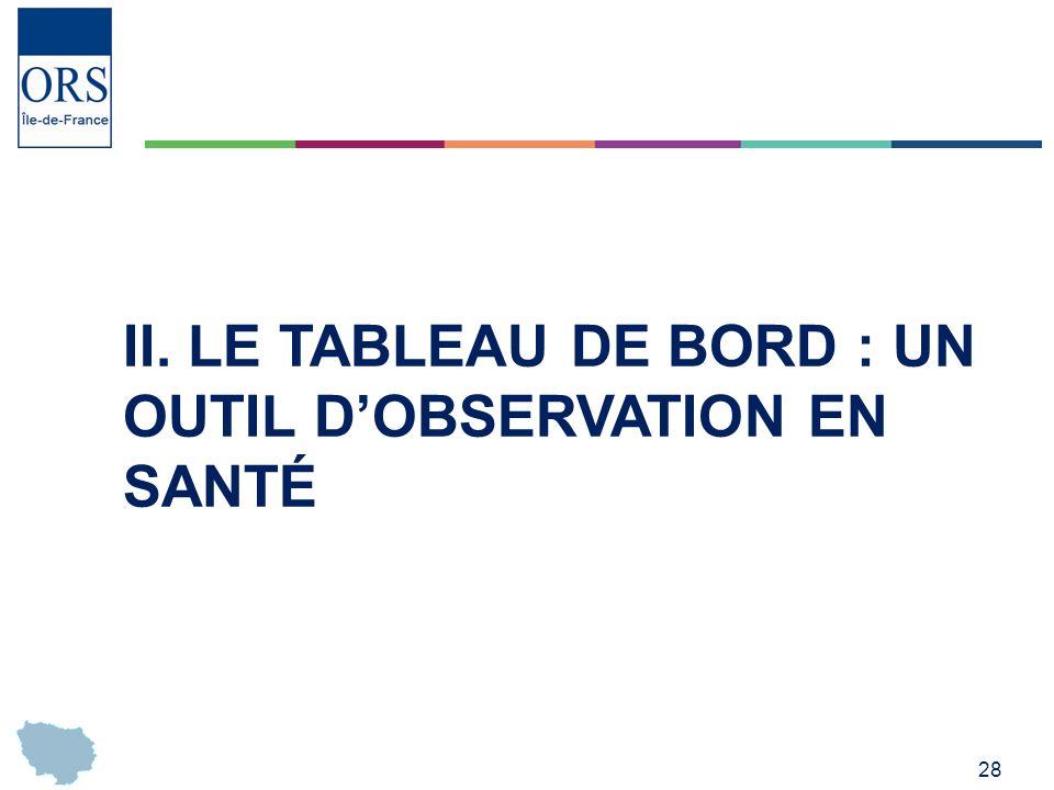 28 II. LE TABLEAU DE BORD : UN OUTIL DOBSERVATION EN SANTÉ