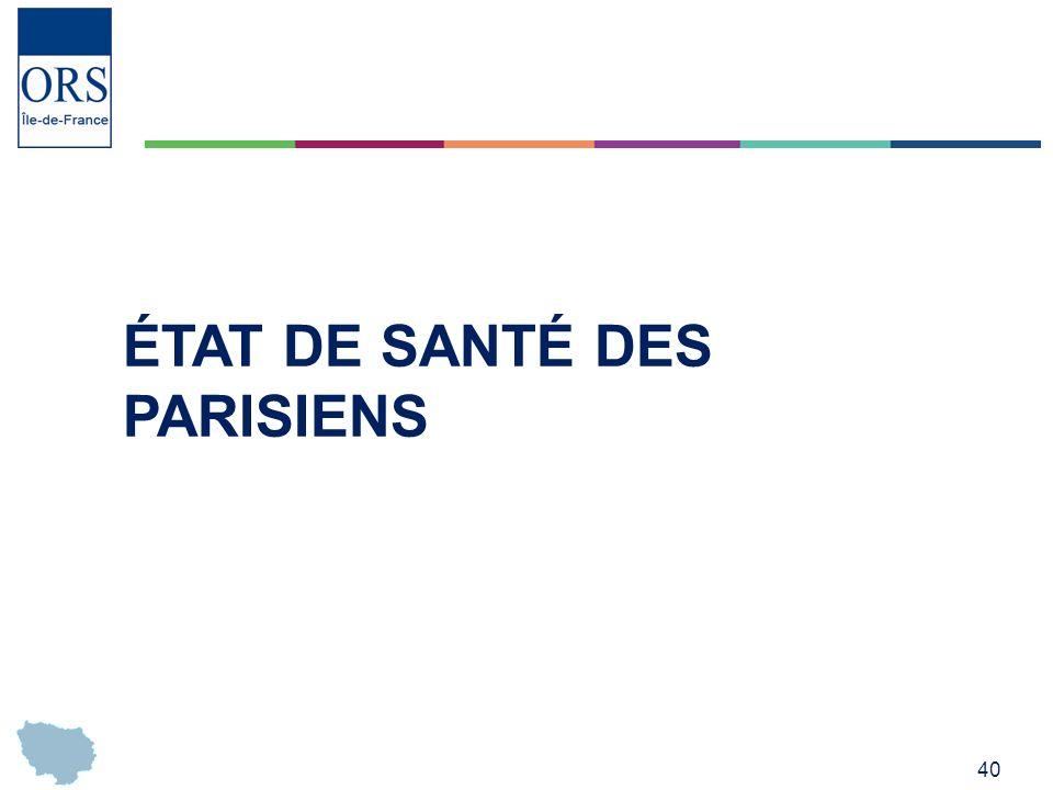 40 ÉTAT DE SANTÉ DES PARISIENS