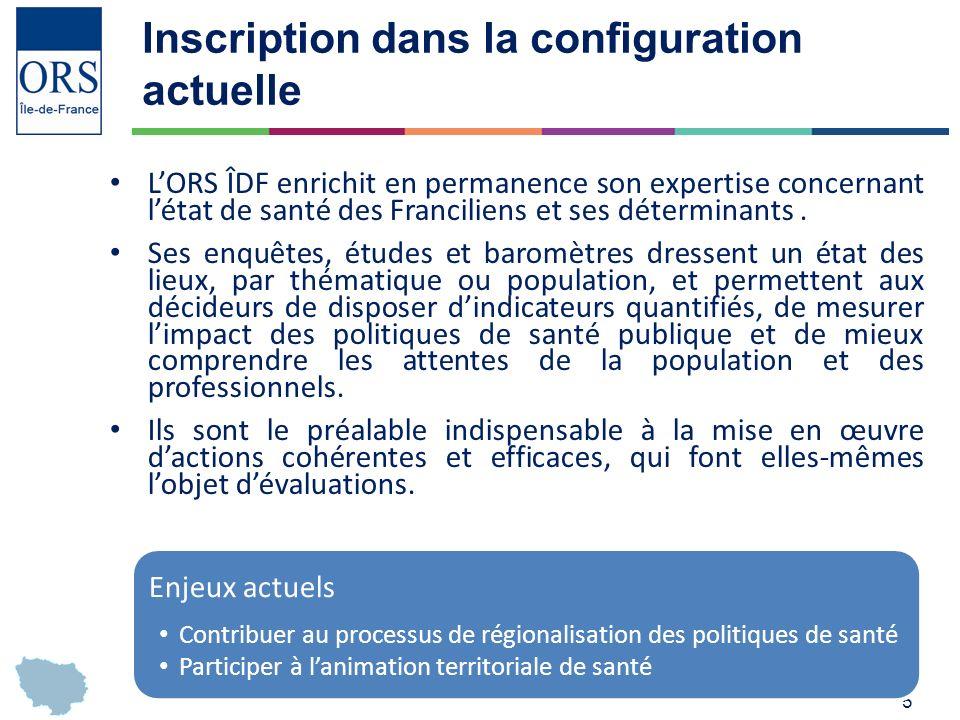 5 Inscription dans la configuration actuelle LORS ÎDF enrichit en permanence son expertise concernant létat de santé des Franciliens et ses déterminants.