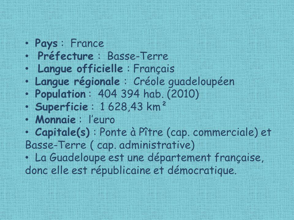 Pays : France Préfecture : Basse-Terre Langue officielle : Français Langue régionale : Créole guadeloupéen Population : 404 394 hab.