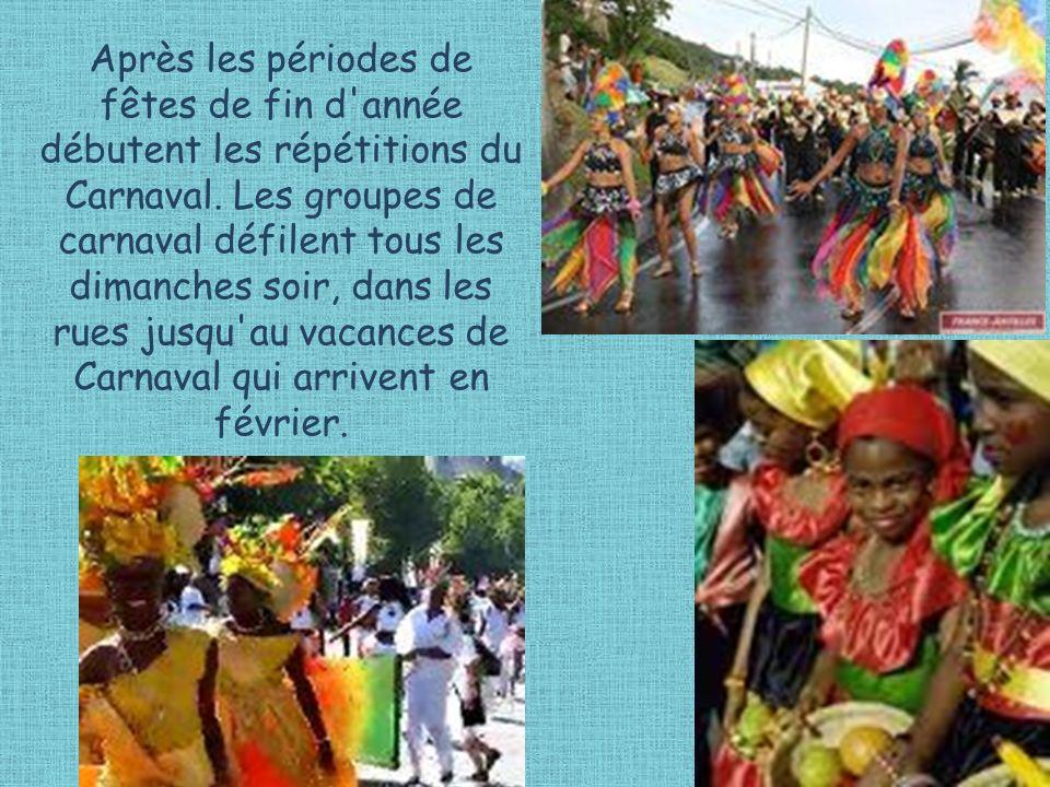 Après les périodes de fêtes de fin d'année débutent les répétitions du Carnaval. Les groupes de carnaval défilent tous les dimanches soir, dans les ru