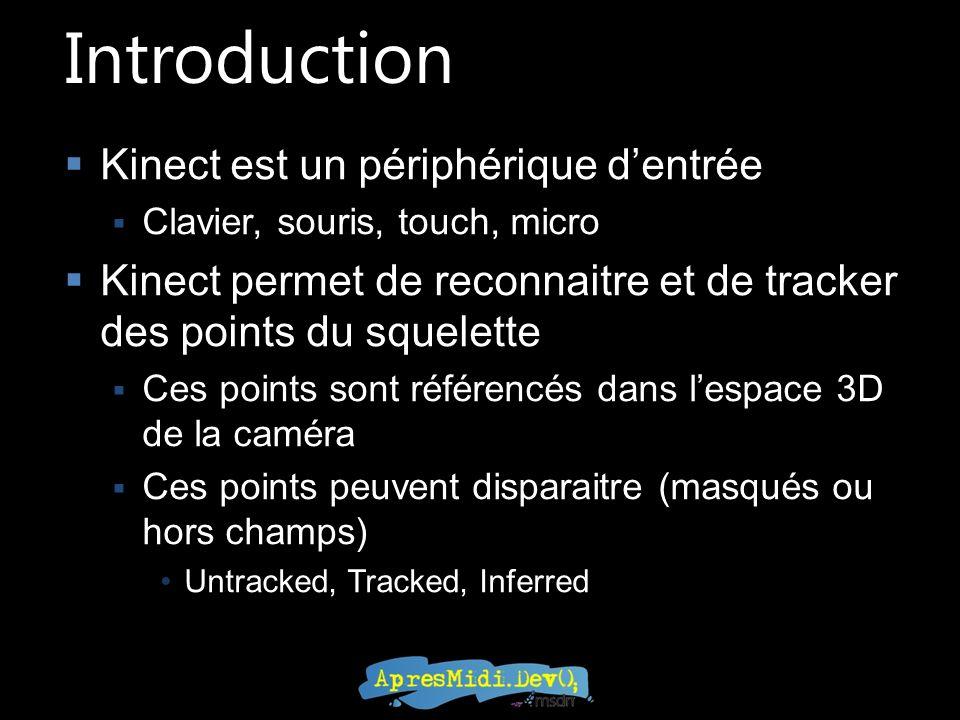 Introduction Kinect est un périphérique dentrée Clavier, souris, touch, micro Kinect permet de reconnaitre et de tracker des points du squelette Ces points sont référencés dans lespace 3D de la caméra Ces points peuvent disparaitre (masqués ou hors champs) Untracked, Tracked, Inferred