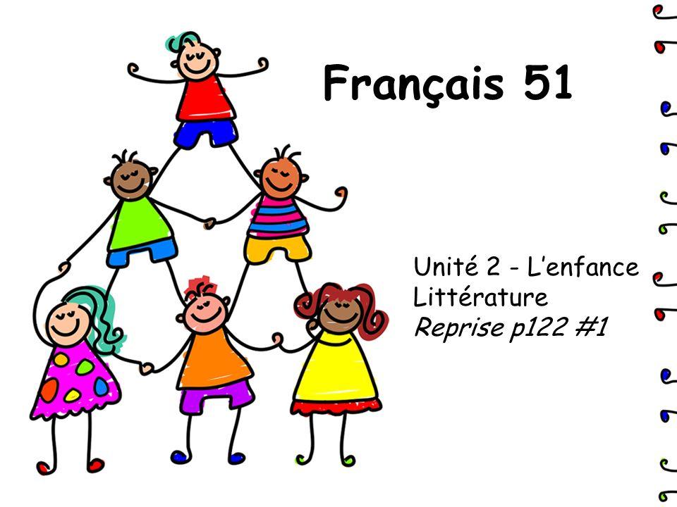 Français 51 Unité 2 - Lenfance Littérature Reprise p122 #1