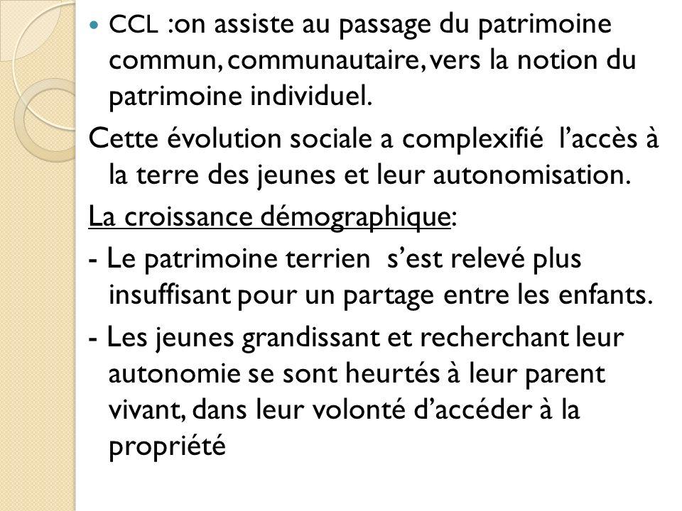 CCL :on assiste au passage du patrimoine commun, communautaire, vers la notion du patrimoine individuel.