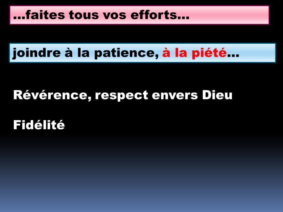 …faites tous vos efforts… joindre à la patience, à la piété… Révérence, respect envers Dieu Fidélité