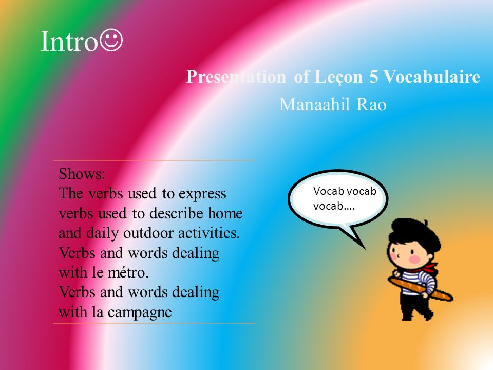 Intro Presentation of Leçon 5 Vocabulaire Manaahil Rao Shows: The verbs used to express verbs used to describe home and daily outdoor activities. Verb