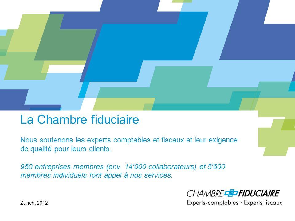 La Chambre fiduciaire Nous soutenons les experts comptables et fiscaux et leur exigence de qualité pour leurs clients. 950 entreprises membres (env. 1