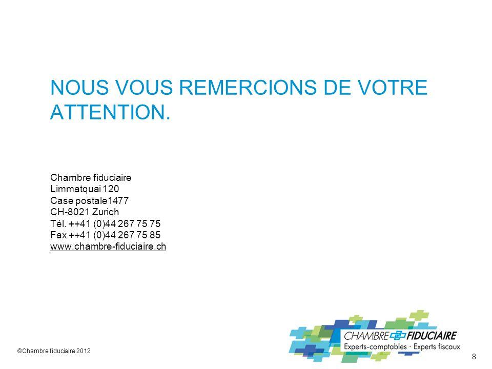 NOUS VOUS REMERCIONS DE VOTRE ATTENTION. Chambre fiduciaire Limmatquai 120 Case postale1477 CH-8021 Zurich Tél. ++41 (0)44 267 75 75 Fax ++41 (0)44 26
