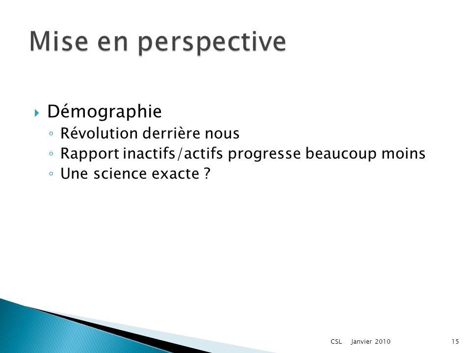 Démographie Révolution derrière nous Rapport inactifs/actifs progresse beaucoup moins Une science exacte ? Janvier 201015CSL