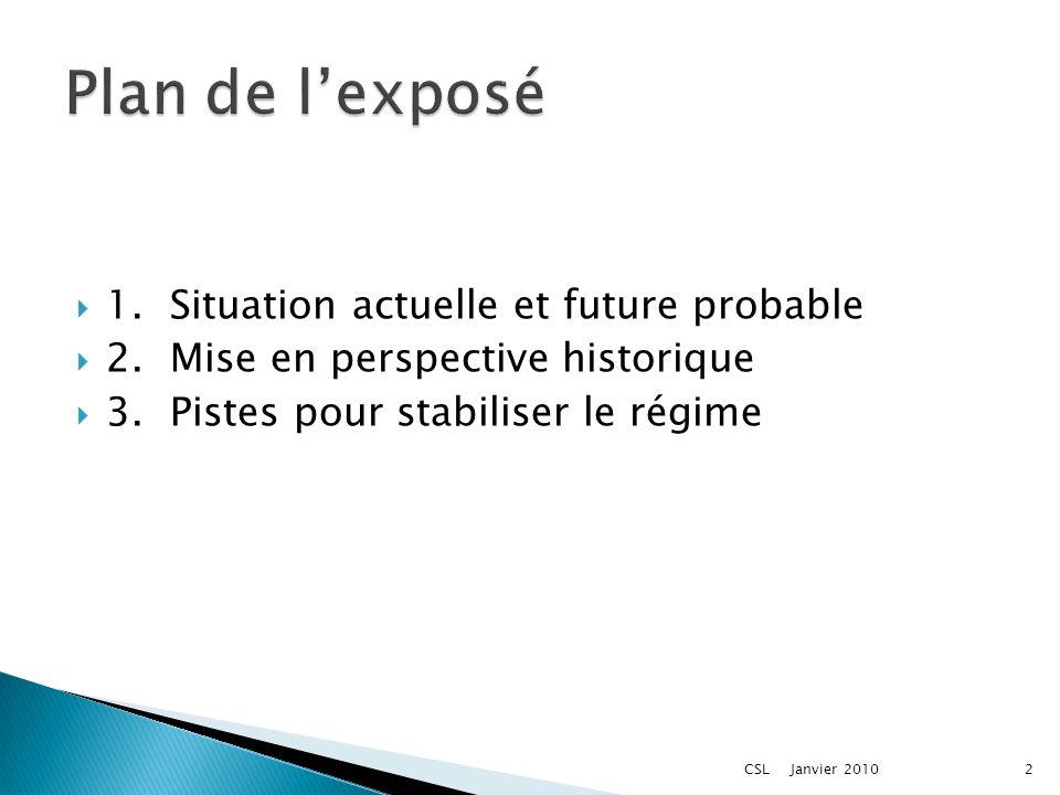 1.Situation actuelle et future probable 2.Mise en perspective historique 3.Pistes pour stabiliser le régime Janvier 20102CSL