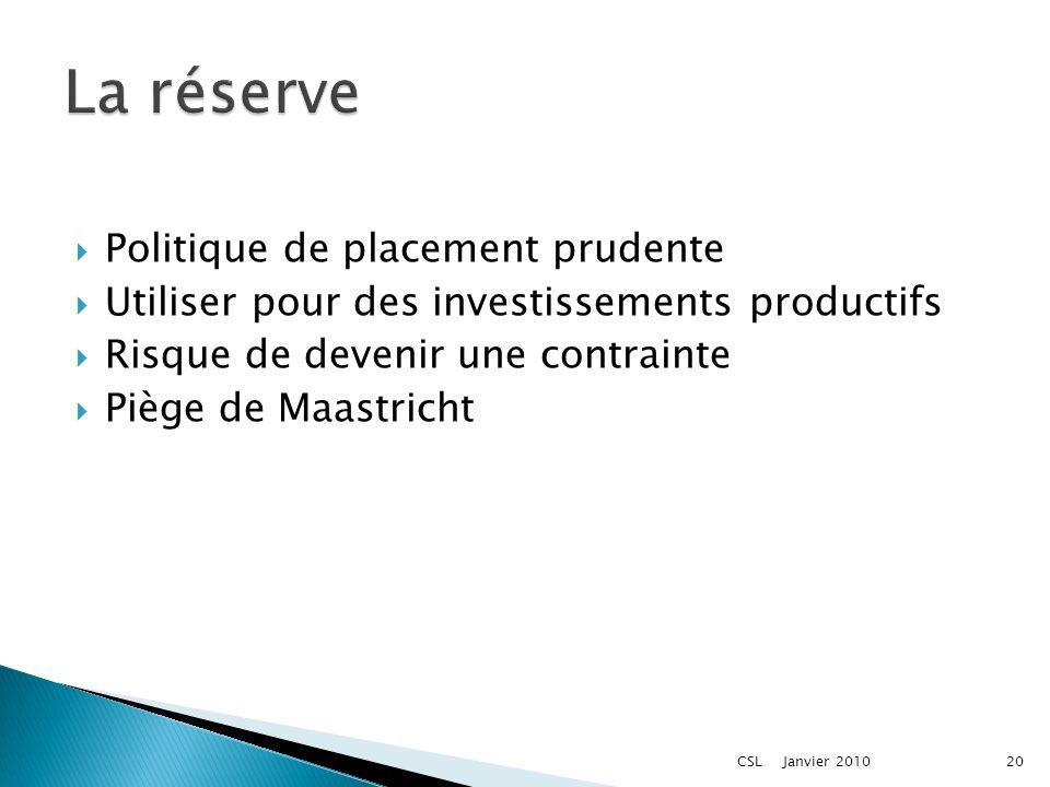 Politique de placement prudente Utiliser pour des investissements productifs Risque de devenir une contrainte Piège de Maastricht Janvier 201020CSL
