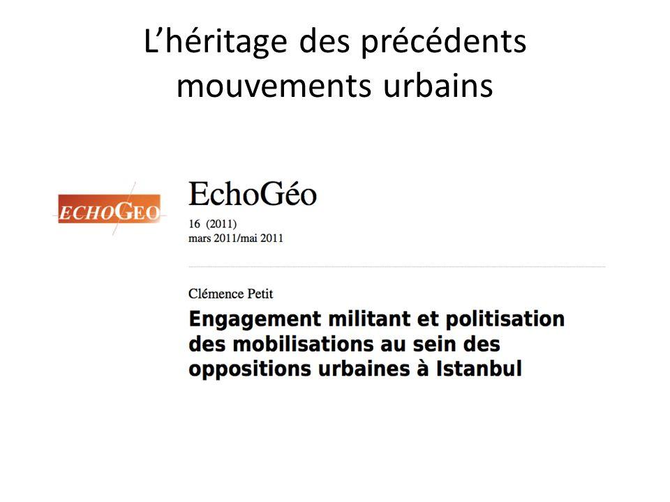 Lhéritage des précédents mouvements urbains