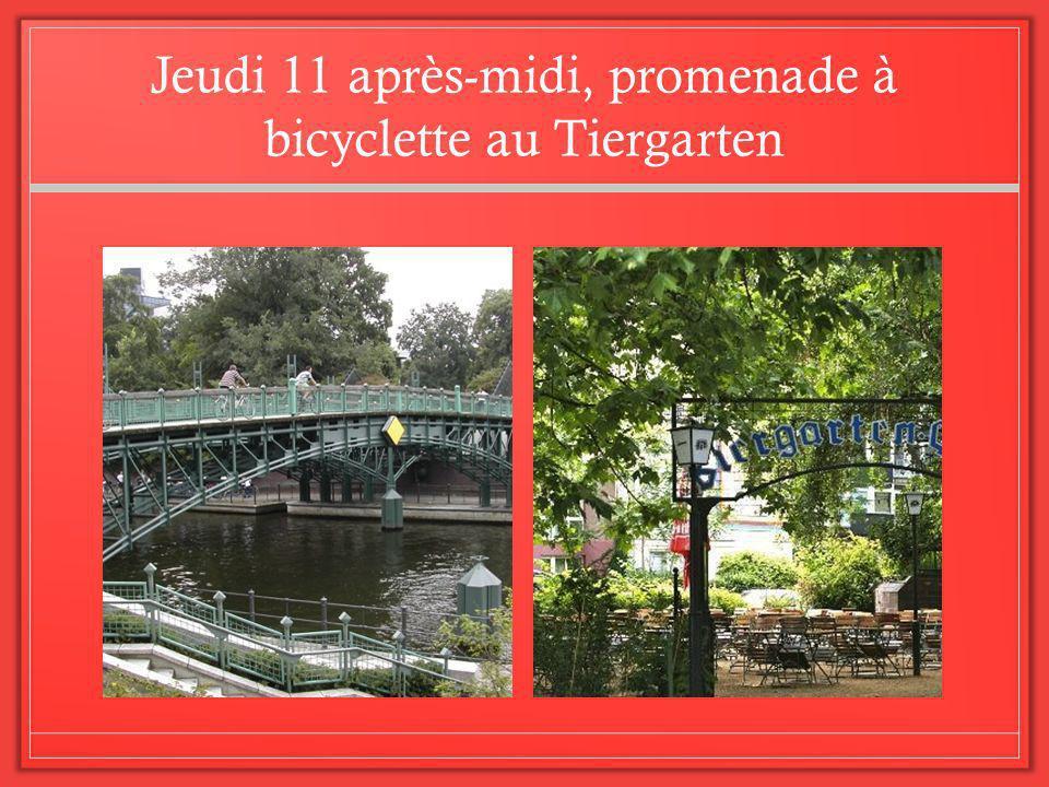 Jeudi 11 après-midi, promenade à bicyclette au Tiergarten