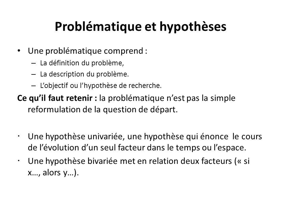Problématique et hypothèses Une problématique comprend : – La définition du problème, – La description du problème.