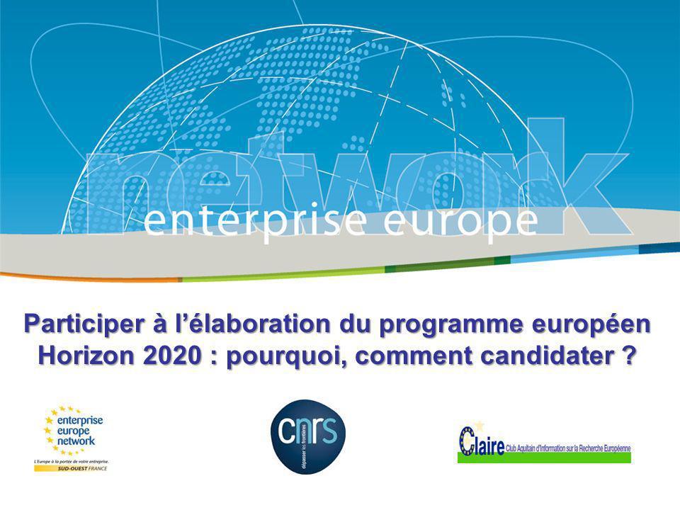 Title Sub-title PLACE PARTNERS LOGO HERE European Commission Enterprise and Industry Participer à lélaboration du programme européen Horizon 2020 : po