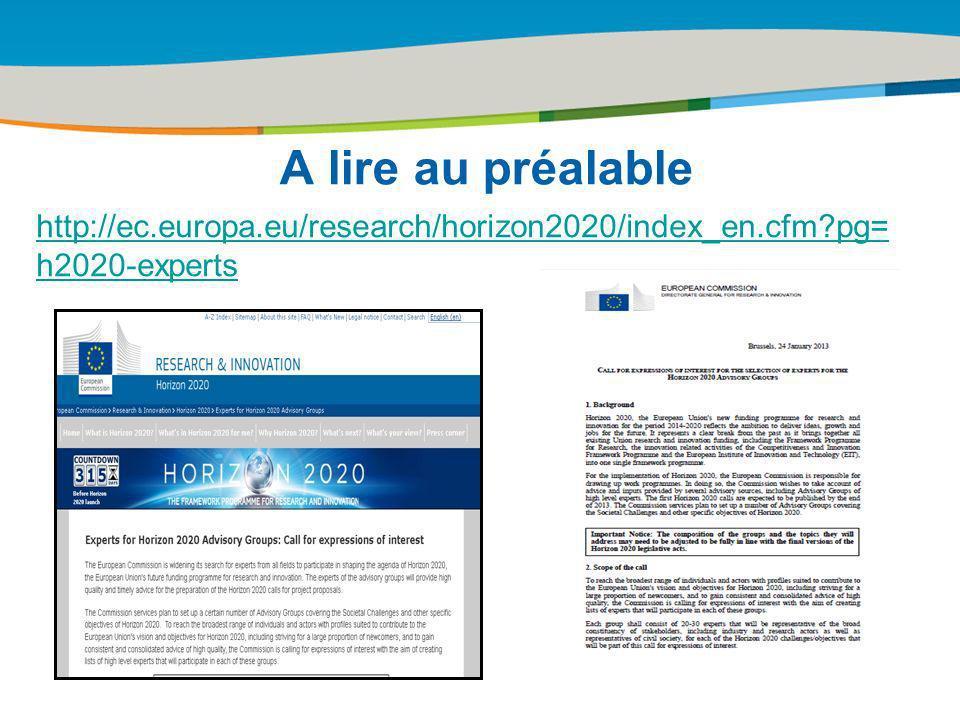 Title of the presentation | Date |# A lire au préalable http://ec.europa.eu/research/horizon2020/index_en.cfm?pg= h2020-experts