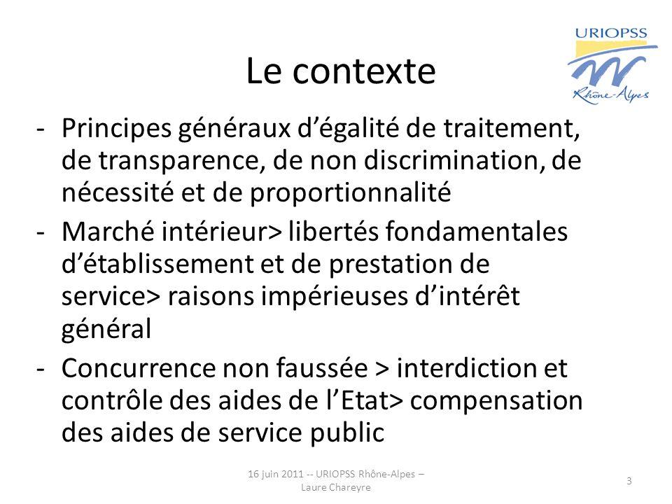 16 juin 2011 -- URIOPSS Rhône-Alpes – Laure Chareyre 3 Le contexte -Principes généraux dégalité de traitement, de transparence, de non discrimination,
