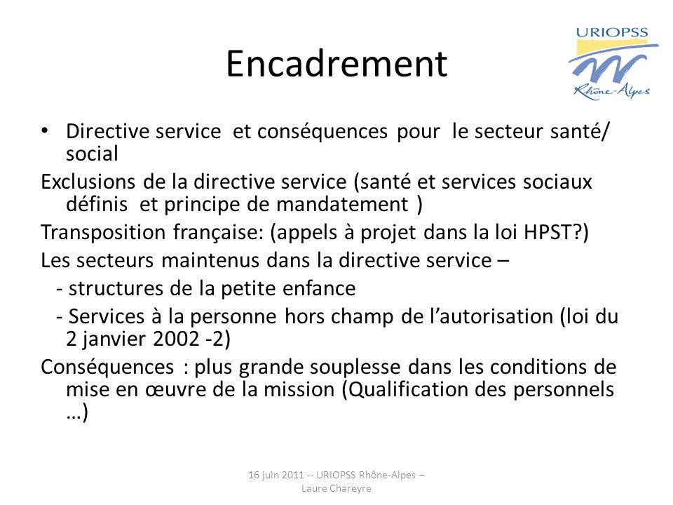 Encadrement Directive service et conséquences pour le secteur santé/ social Exclusions de la directive service (santé et services sociaux définis et p