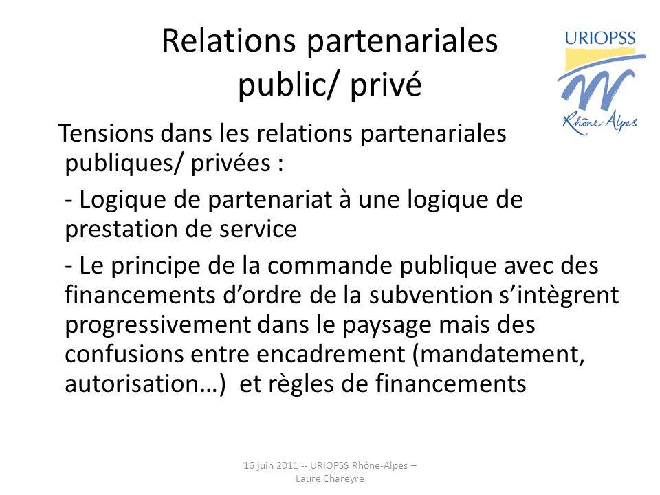 Relations partenariales public/ privé Tensions dans les relations partenariales publiques/ privées : - Logique de partenariat à une logique de prestation de service - Le principe de la commande publique avec des financements dordre de la subvention sintègrent progressivement dans le paysage mais des confusions entre encadrement (mandatement, autorisation…) et règles de financements 16 juin 2011 -- URIOPSS Rhône-Alpes – Laure Chareyre