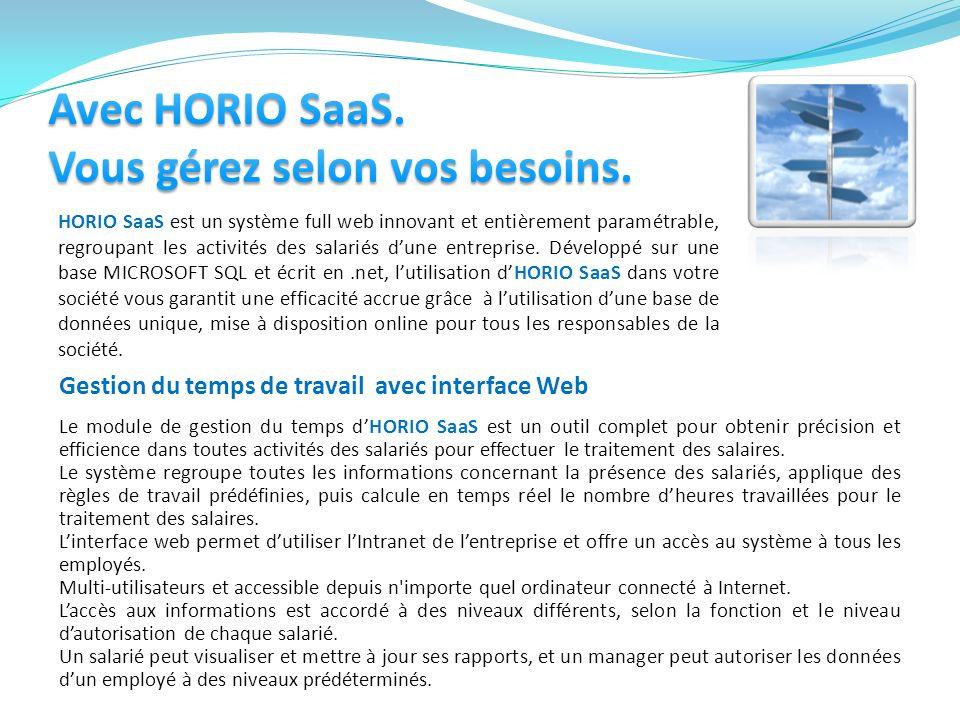 HORIO SaaS est un système full web innovant et entièrement paramétrable, regroupant les activités des salariés dune entreprise. Développé sur une base