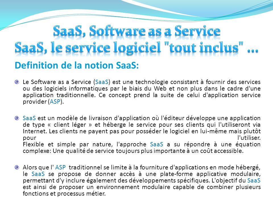 Definition de la notion SaaS: Le Software as a Service (SaaS) est une technologie consistant à fournir des services ou des logiciels informatiques par