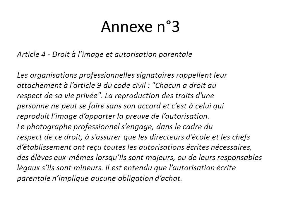 Annexe n°3 Article 4 - Droit à limage et autorisation parentale Les organisations professionnelles signataires rappellent leur attachement à larticle