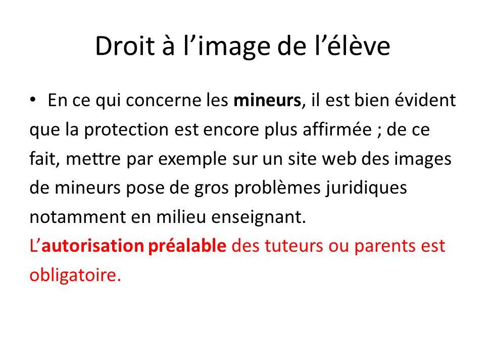Droit à limage de lélève En ce qui concerne les mineurs, il est bien évident que la protection est encore plus affirmée ; de ce fait, mettre par exemp