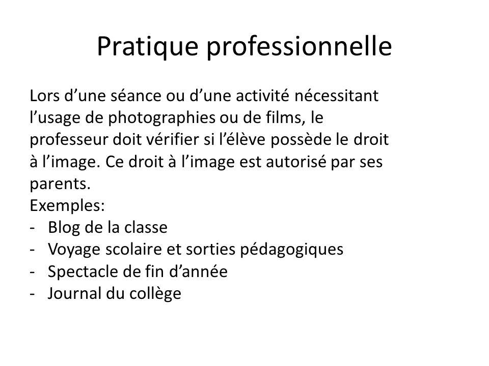 Pratique professionnelle Lors dune séance ou dune activité nécessitant lusage de photographies ou de films, le professeur doit vérifier si lélève poss
