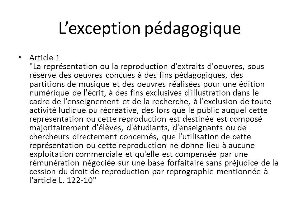 Lexception pédagogique Article 1