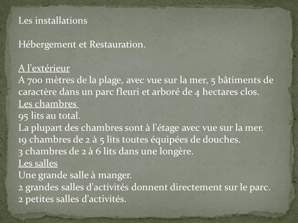 Les installations Hébergement et Restauration.