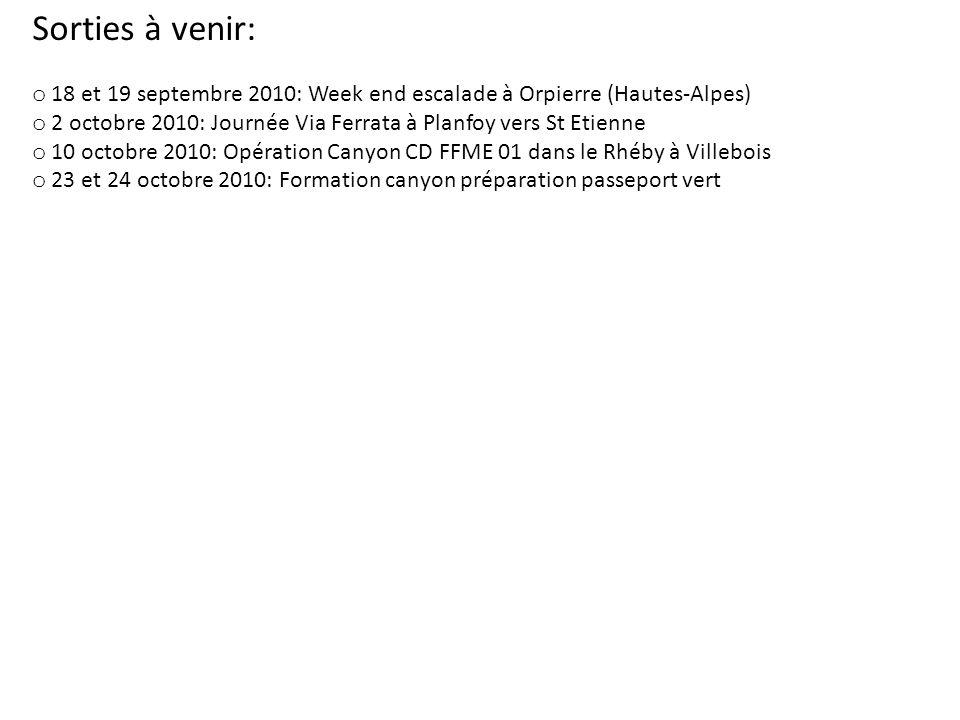 Sorties à venir: o 18 et 19 septembre 2010: Week end escalade à Orpierre (Hautes-Alpes) o 2 octobre 2010: Journée Via Ferrata à Planfoy vers St Etienne o 10 octobre 2010: Opération Canyon CD FFME 01 dans le Rhéby à Villebois o 23 et 24 octobre 2010: Formation canyon préparation passeport vert