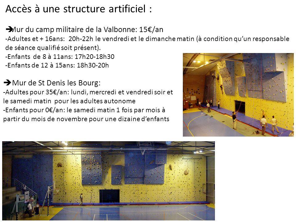 Accès à une structure artificiel : Mur du camp militaire de la Valbonne: 15/an -Adultes et + 16ans: 20h-22h le vendredi et le dimanche matin (à condition quun responsable de séance qualifié soit présent).