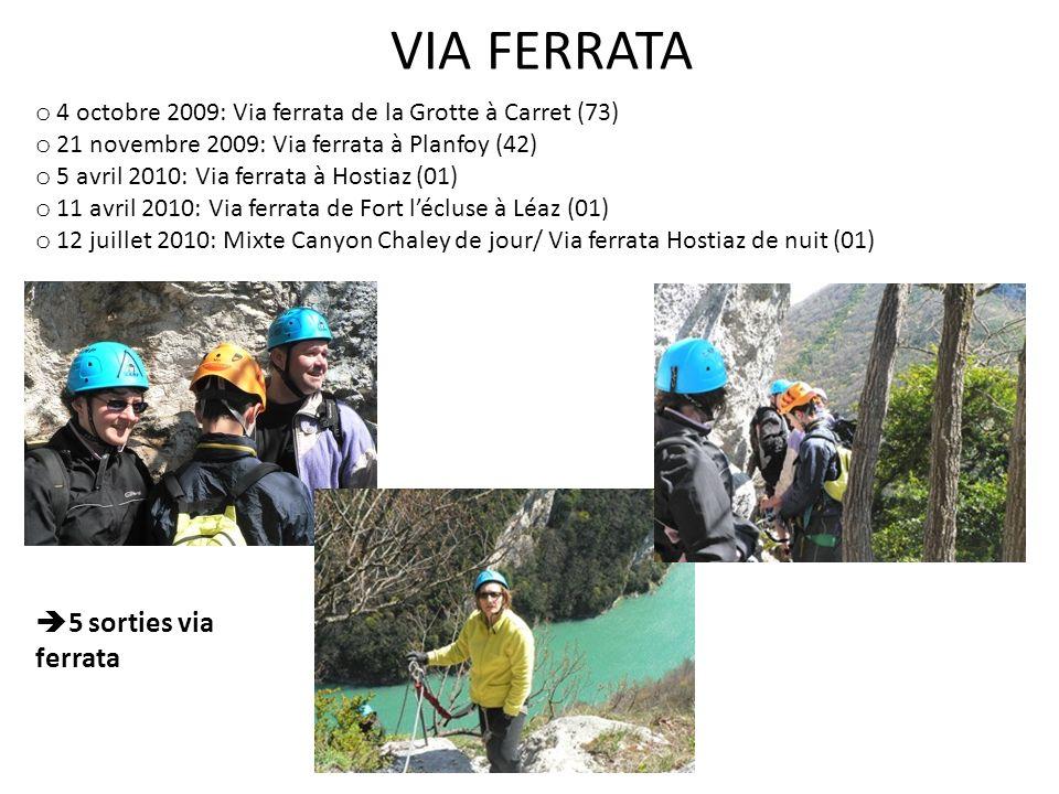 o 4 octobre 2009: Via ferrata de la Grotte à Carret (73) o 21 novembre 2009: Via ferrata à Planfoy (42) o 5 avril 2010: Via ferrata à Hostiaz (01) o 11 avril 2010: Via ferrata de Fort lécluse à Léaz (01) o 12 juillet 2010: Mixte Canyon Chaley de jour/ Via ferrata Hostiaz de nuit (01) 5 sorties via ferrata VIA FERRATA
