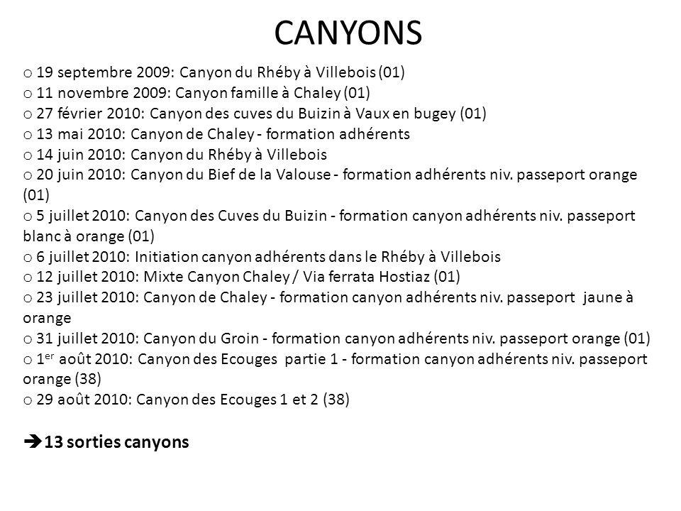 o 19 septembre 2009: Canyon du Rhéby à Villebois (01) o 11 novembre 2009: Canyon famille à Chaley (01) o 27 février 2010: Canyon des cuves du Buizin à Vaux en bugey (01) o 13 mai 2010: Canyon de Chaley - formation adhérents o 14 juin 2010: Canyon du Rhéby à Villebois o 20 juin 2010: Canyon du Bief de la Valouse - formation adhérents niv.