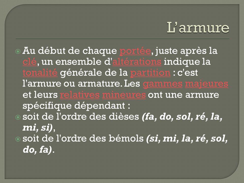 Au début de chaque portée, juste après la clé, un ensemble d altérations indique la tonalité générale de la partition : c est l armure ou armature.