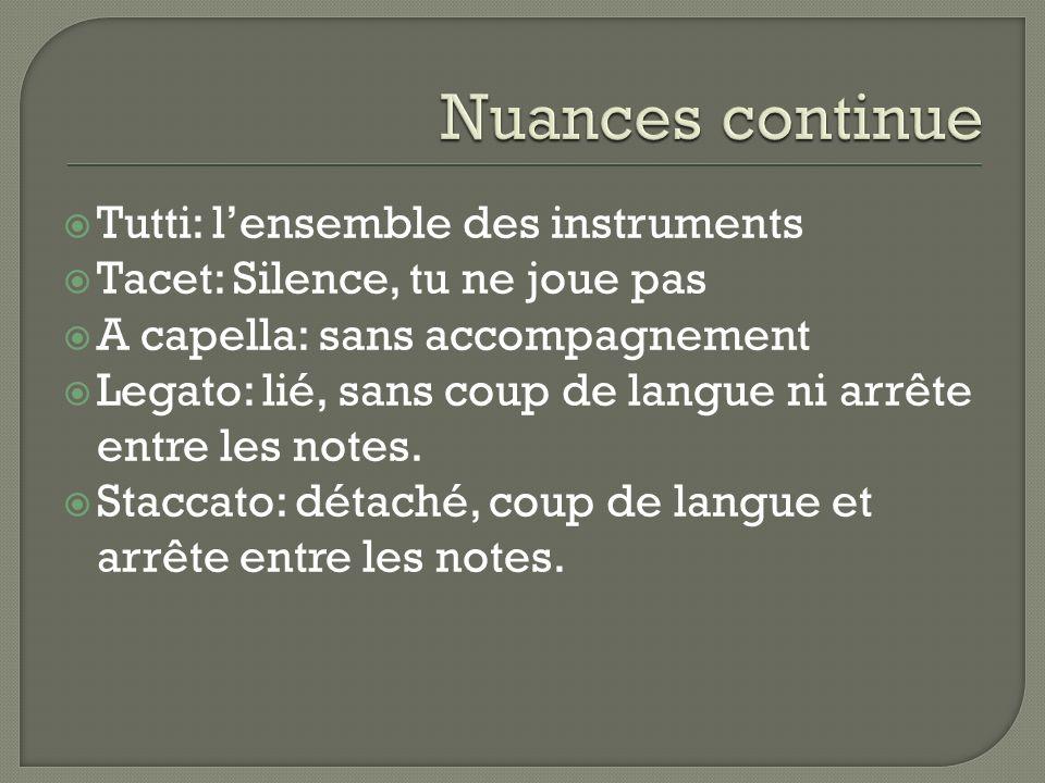 Tutti: lensemble des instruments Tacet: Silence, tu ne joue pas A capella: sans accompagnement Legato: lié, sans coup de langue ni arrête entre les notes.