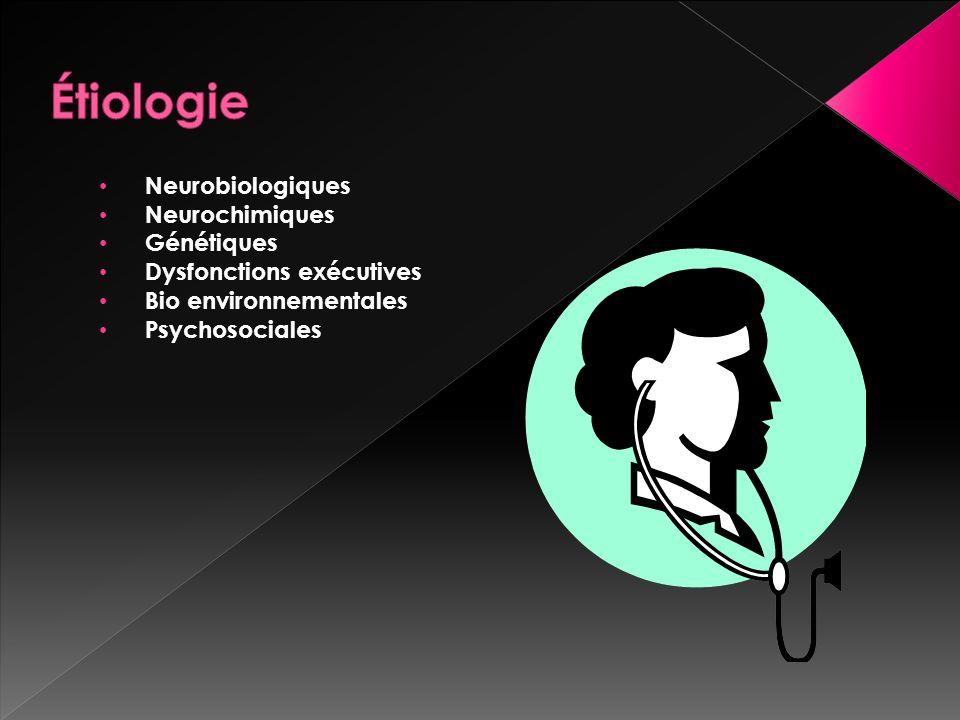 Neurobiologiques Neurochimiques Génétiques Dysfonctions exécutives Bio environnementales Psychosociales