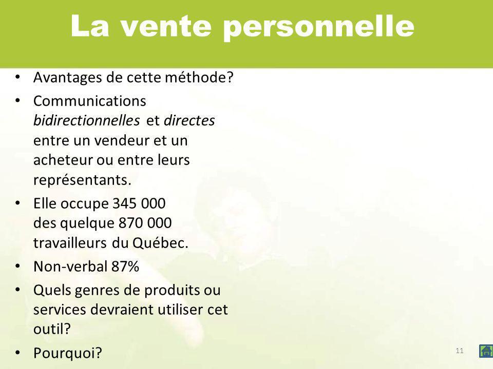11 La vente personnelle Avantages de cette méthode? Communications bidirectionnelles et directes entre un vendeur et un acheteur ou entre leurs représ