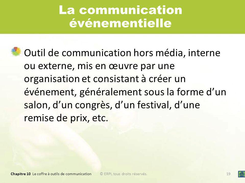 Chapitre 10 Le coffre à outils de communication 19© ERPI, tous droits réservés. La communication événementielle Outil de communication hors média, int