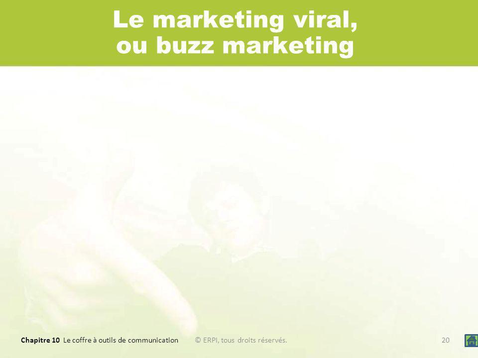 Chapitre 10 Le coffre à outils de communication 20© ERPI, tous droits réservés. Le marketing viral, ou buzz marketing