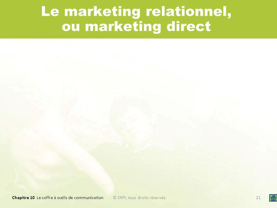 Chapitre 10 Le coffre à outils de communication 21© ERPI, tous droits réservés. Le marketing relationnel, ou marketing direct