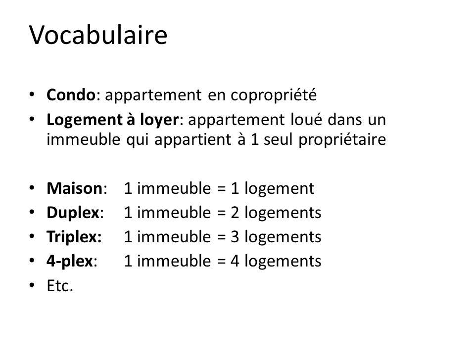 Vocabulaire Condo: appartement en copropriété Logement à loyer: appartement loué dans un immeuble qui appartient à 1 seul propriétaire Maison: 1 immeuble = 1 logement Duplex: 1 immeuble = 2 logements Triplex:1 immeuble = 3 logements 4-plex: 1 immeuble = 4 logements Etc.
