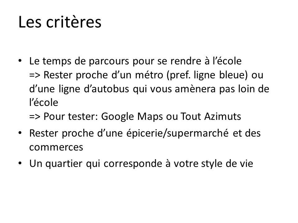 Les critères Le temps de parcours pour se rendre à lécole => Rester proche dun métro (pref.