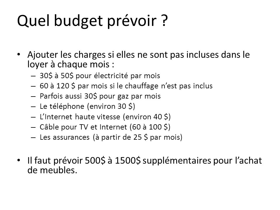 Quel budget prévoir .