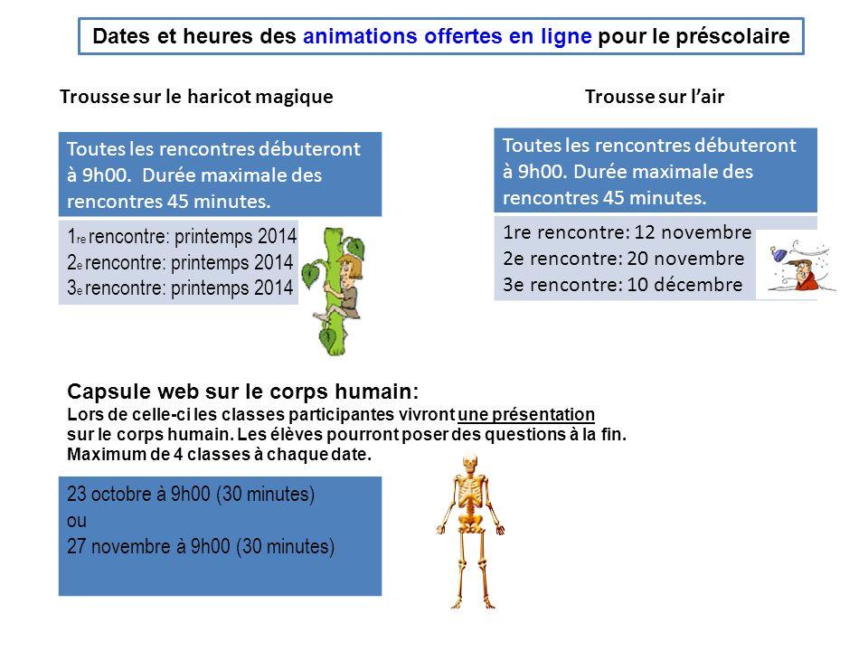 Dates et heures des animations offertes en ligne pour le 1 er cycle Trousse sur lombre Toutes les rencontres débuteront à 9h00.