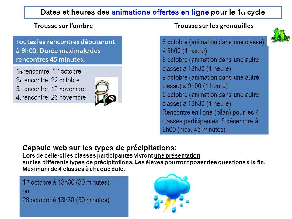 Dates et heures des animations offertes en ligne pour le 2 e cycle Trousse sur les oiseaux Toutes les rencontres débuteront à 9h00.