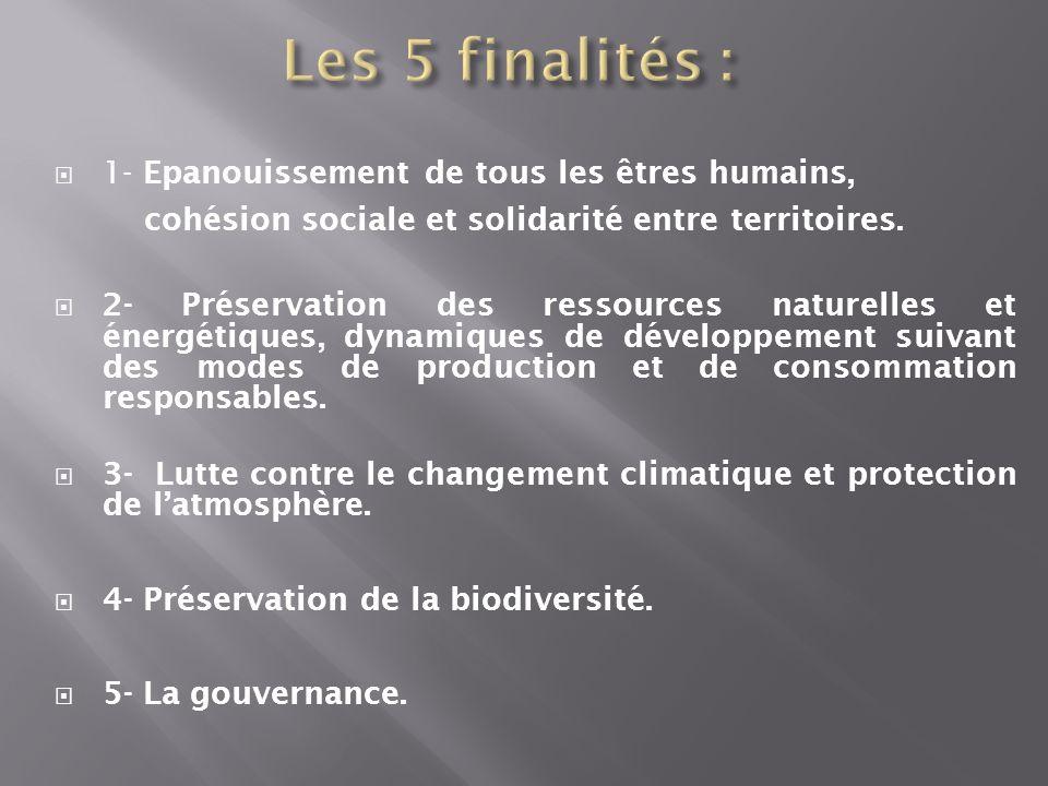 1- Epanouissement de tous les êtres humains, cohésion sociale et solidarité entre territoires. 2- Préservation des ressources naturelles et énergétiqu