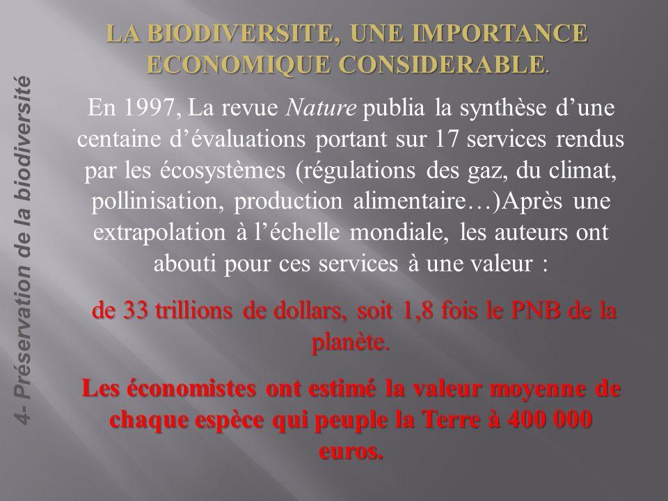 4- Préservation de la biodiversité En 1997, La revue Nature publia la synthèse dune centaine dévaluations portant sur 17 services rendus par les écosy